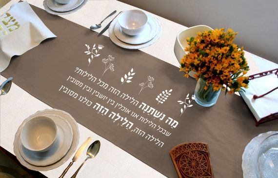 "Seder Meal Table Runner - ""Ma Nishtana"" Passover Seder Tablecloth - Judaica Gift - Hebrew Letters Home Decoration -100% Cotton Cloth"