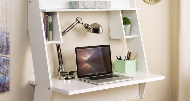 Install a floating desk to save space and make a cozy wall-mounted study nook. Opt for a clean white finish to add the illusion of space.