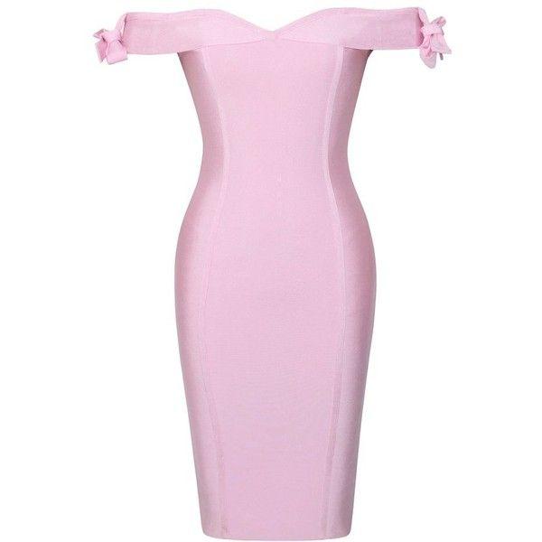 Chalita Off The Shoulder Bandage Dress ($149) ❤ liked on Polyvore featuring dresses, pink bandage dress, off the shoulder dress, bandage dresses, off-shoulder dresses and pink off shoulder dress