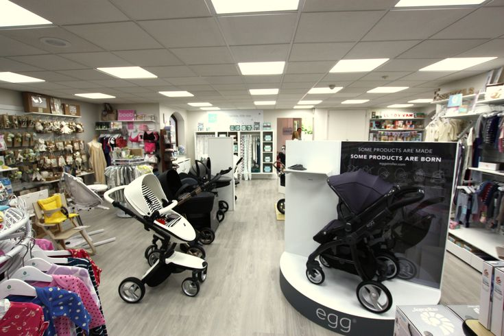 Our stroller display in our Bagshot baby store - featuring some lovely items from Egg!