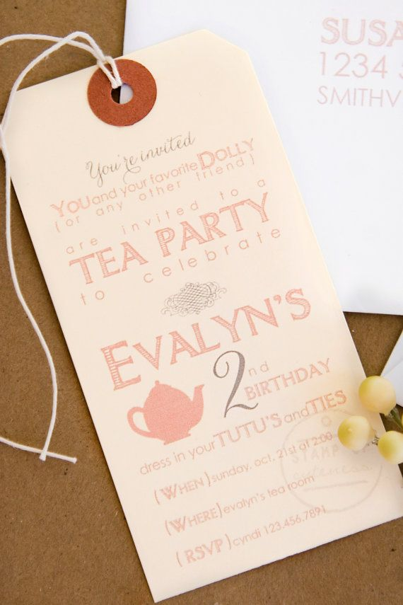 Tea Party Birthday Invitations By Jaynesalentiny On Etsy 4000