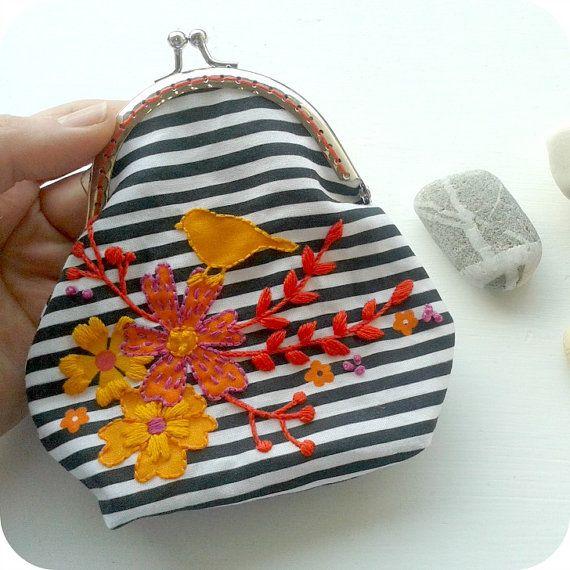 Embroider and sew a Purse. DIY kit. Purse making by jennyblairart