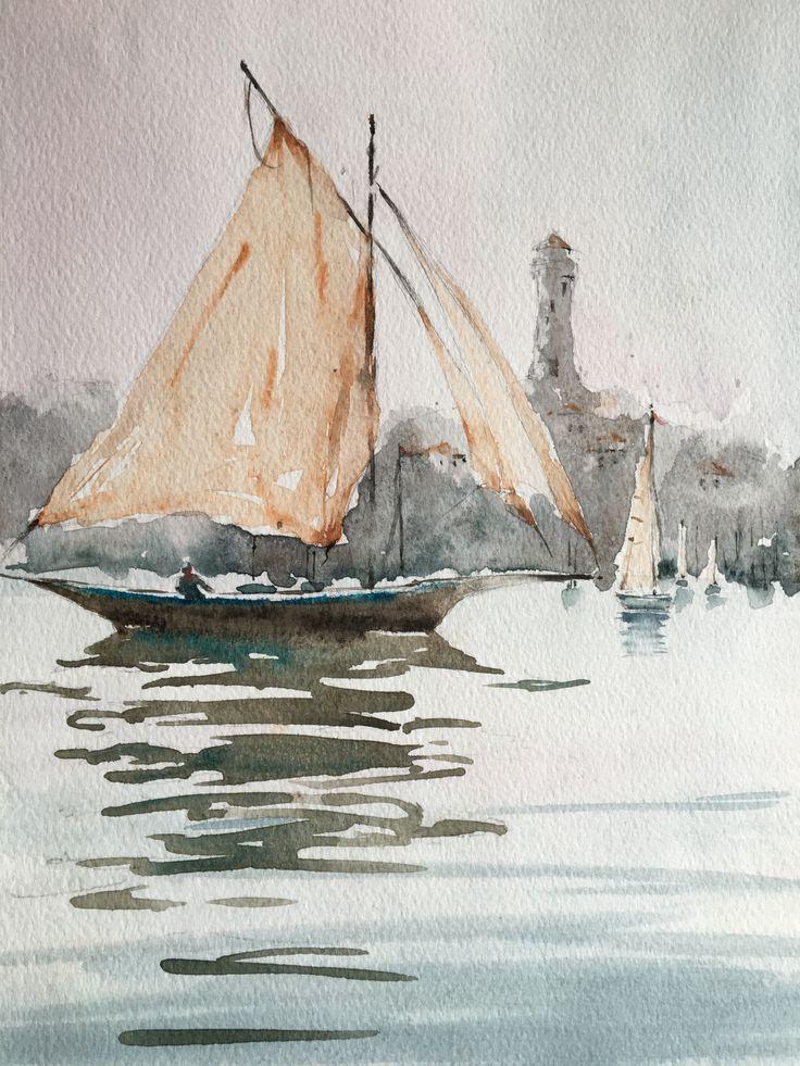 Sailing Ship, Lightower. Watercolor