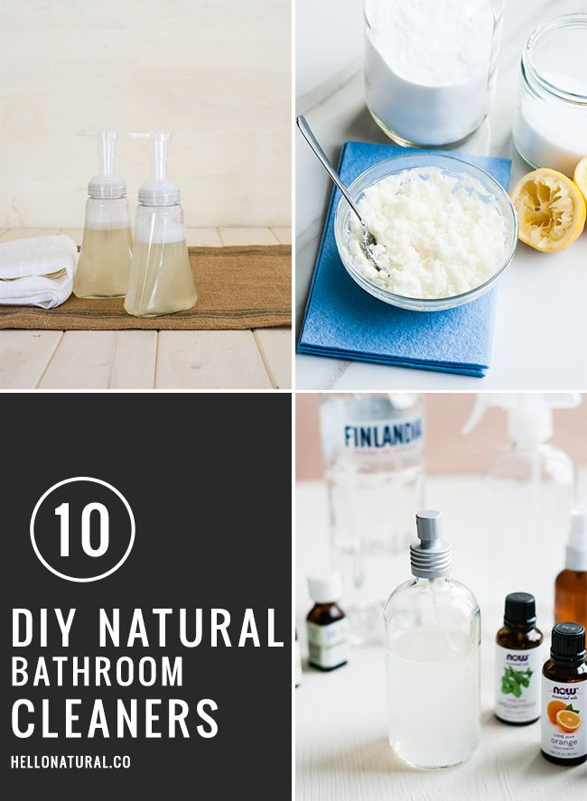Get ready for company with these 10 recipes for DIY natural bathroom cleaners.