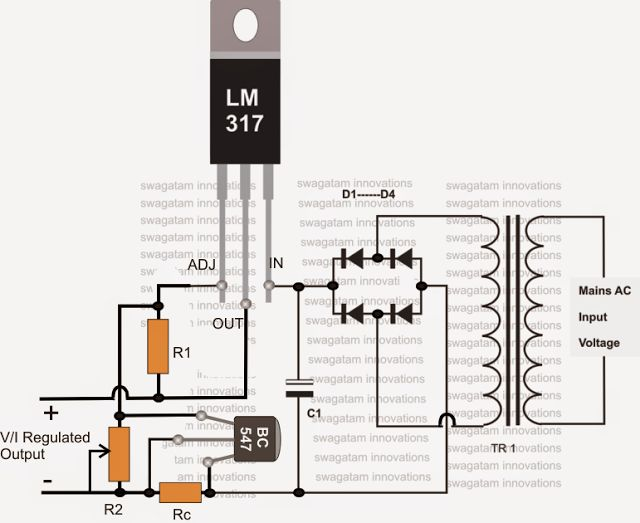 Current Controlled 12V Battery Charger Using IC 317