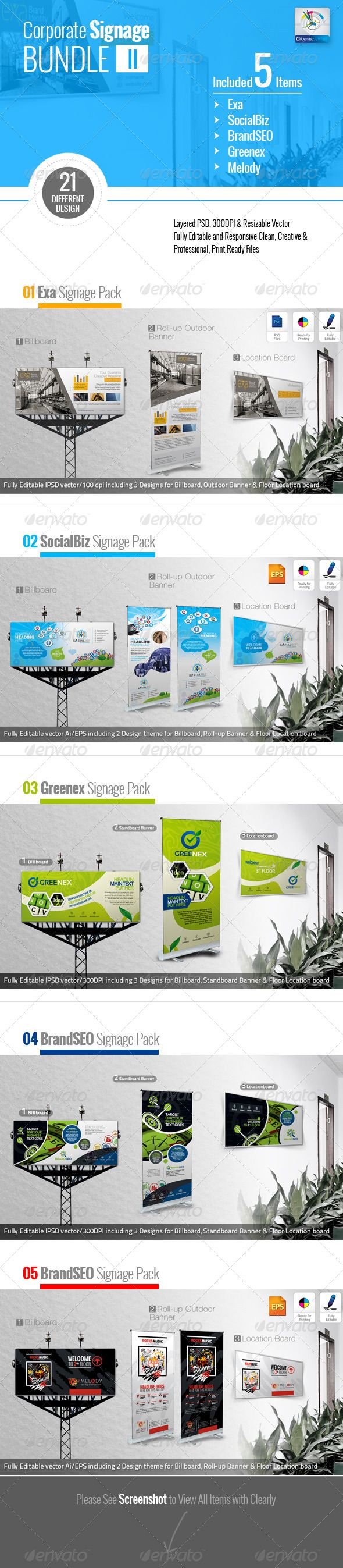 "Corporate Signage Bundle II #GraphicRiver 01_ Exa Clean Signage Pack Corporate Business Signage Pack- Exa including Billboard, Roll-up Outdoor Banner & Location Board Signage Templates Billboard: 120×48"" print dimension >Roll-up Outdoor Banner: 30×70"" print dimension Location Board: 30×18"" Print Dimension Bleed + Trim Mark, Well Layered Organised (PSD), CMYK, Print ready Fully Editable, Text/fonts/colours editable Very Easy to Customise & replace the picture image Whats you get in the main files"