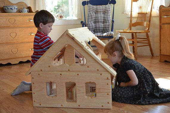 Natural Our Maine Dollhouse by Elves and Angels. Really want this doll house for the girls!!!
