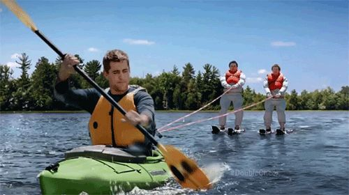Towing Hans and Franz in a kayak… | Aaron Rodgers Gets Pumped Up By SNL's Hans & Franz In New State Farm Commercial
