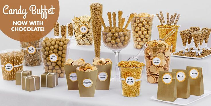 Gold Candy Buffet Supplies - Gold Candy & Containers - Party City