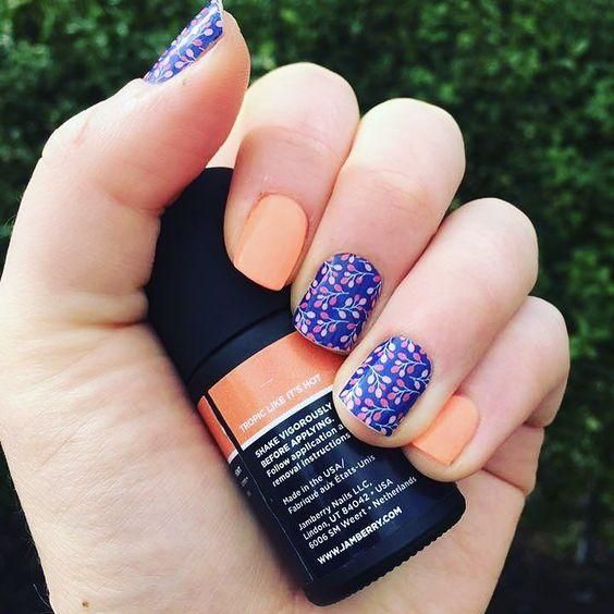 I love #tropiclikeitshotjn #trushinegel gorgeous #fluroescentorange #manicure wouldn't you say? #buddingcolbaltjn as accent :D Cute pairing for sure. Happy #friyay