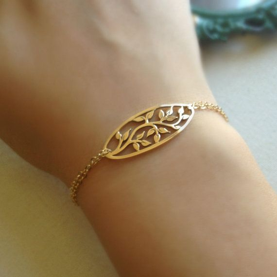 Tree Of Life Bracelet Oval Pendant Gold by anatoliantaledesign, $28.00