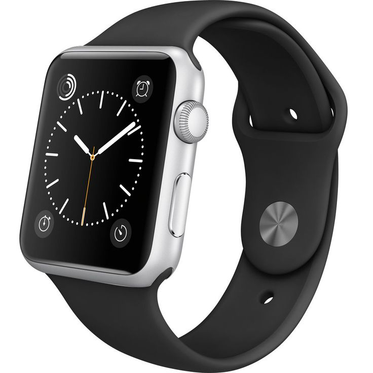 Buy Apple Watch 42mm Silver Aluminum Case with Black Sports Band - Refurbished