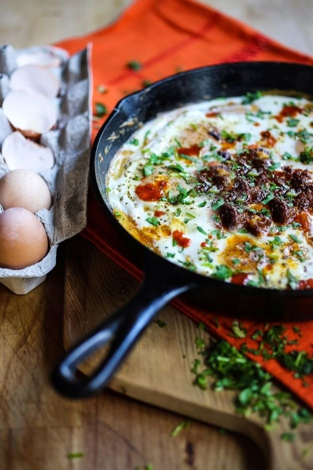 Polenta Skillet Eggs with Chorizo | 33 Cuddly And Delicious Beds Of Polenta