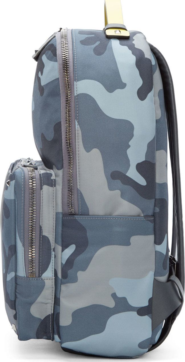 Valentino Grey Nylon & Leather Camo Backpack