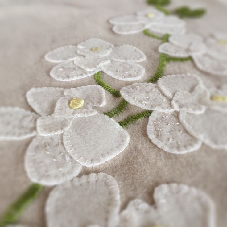 White moth orchid diy pure wool embroidery and applique kit from birdiebrown.co.nz #embroidery #applique