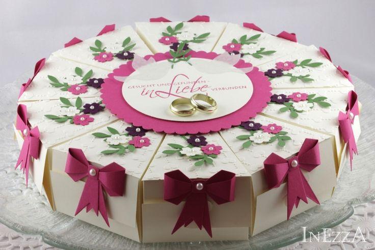 Geldgeschenke - Schachteltorte Geldgeschenk Hochzeit - ein Designerstück von Inezza-Geschenke bei DaWanda