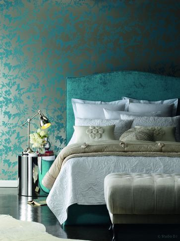 Turquoise bedroom.  Florence Broadhurst - tropical floral wallpaper.