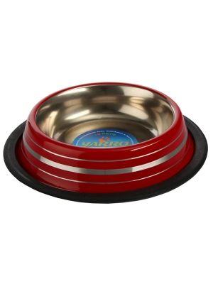 miska czerwona metalowa w paski  • ciekawy wzór • pojemność około 250ml • żywy kolor • łatwa do mycia