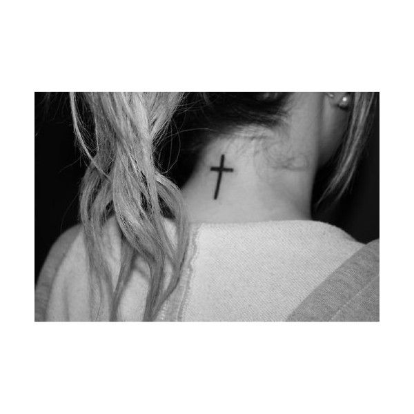 Cross On Back Of Neck Tattoo Tumblr ❤ liked on Polyvore featuring pictures