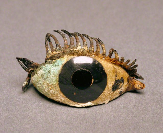 Greek, 500–100 BCE, right eye of a statue. Marble, obsidian, glass, and copper. Getty Museum.