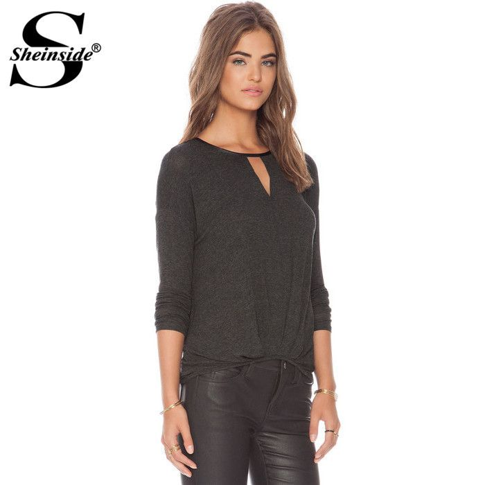 Sheinside Women Summer Grey Long Sleeve Round Neck Hollow New 2015 Design Hot Stylish Casual Slim Fitness T-shirt
