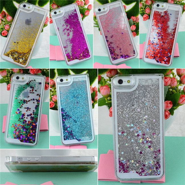 For Apple iPhone 5 5S Dynamic Glitter Star Liquid State Quicksand Case Cover