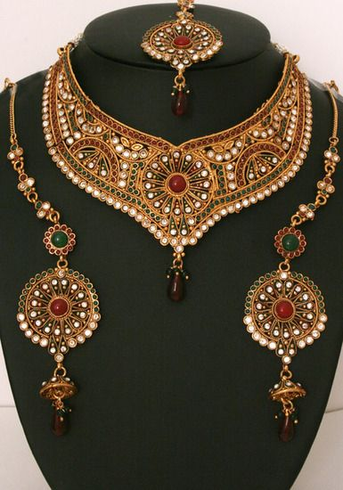 Gorgeous indian fashion semibridal necklace set with emerald,ruby and clear stones-08SMBR103  http://www.craftandjewel.com/servlet/the-1634/Gorgeous-indian-fashion-semibridal/Detail