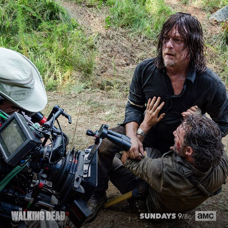 """The Walking Dead (@amcthewalkingdead) on Instagram: """"Go behind the camera for one of this season's most explosive fights. #TWD"""" - Daryl Dixon  (Norman Reedus) and Rick Grimes (Andrew Lincoln) fight about letting the Saviors Live or Die after Negan is defeated in The Walking Dead S8 Ep05 """"The Big Scary U"""""""