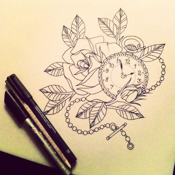 pocket watch tattoo sketch - Google-Suche