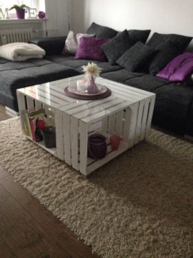 Fruit crates Tins table table white coffee table with glass top in Stade