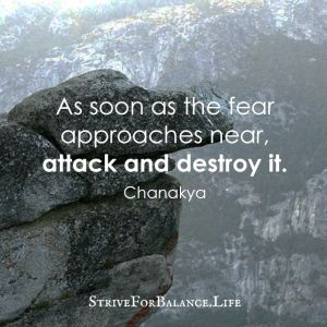As soon as the fear approaches near, attack and destroy it. ~Chanakya