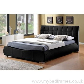 dorado black faux leather bed frame
