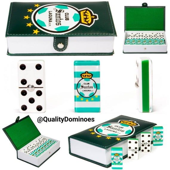 Club Santos de Torreon Domino Game Set Double Six Dominoes Futbol Soccer Dominos Man Cave Father Dad