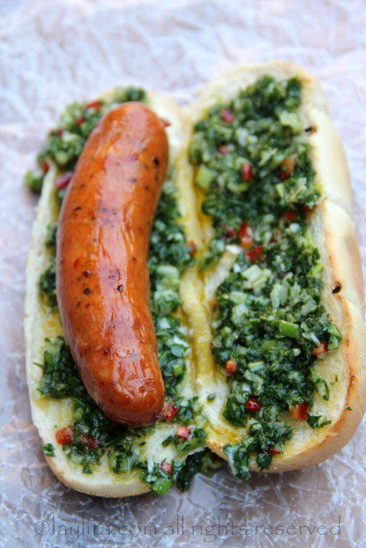 Chorizo hot dog with chimichurri