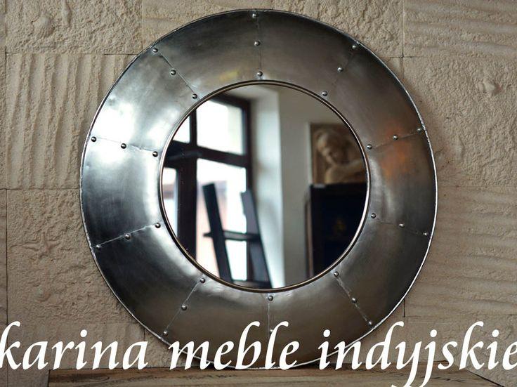 meble loftowe lustro okrągłe | iron round mirror loft style