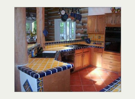 MexicanTiles.com - Mexican Talavera Tile in Kitchen Island Countertop & Backsplash