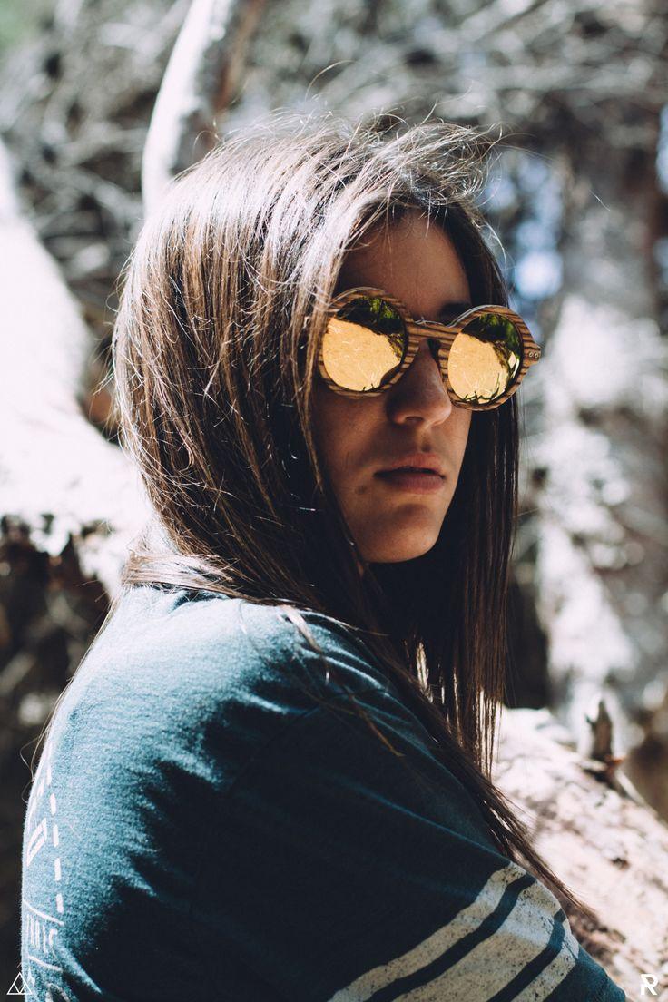 Gafas de Madera Feler Sunglasses - Coco Zebrano Oro Espejo
