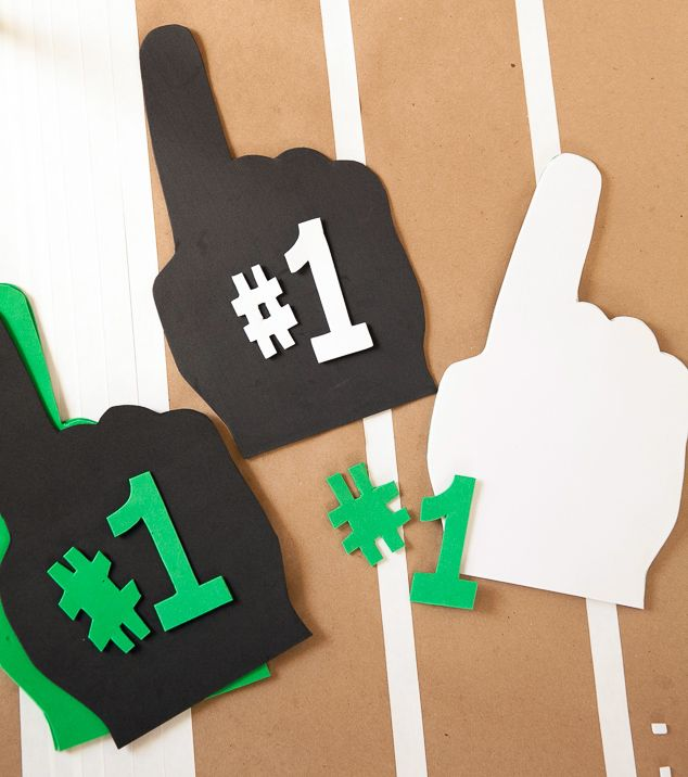 DIY foam finger for a Superbowl party or football party                                                                                                                                                                                 More