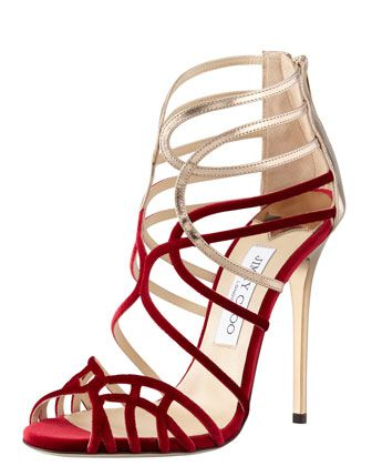 Flaunt fabulous and femine! Maury Velvet & Leather Sandal by Jimmy Choo at Bergdorf Goodman.