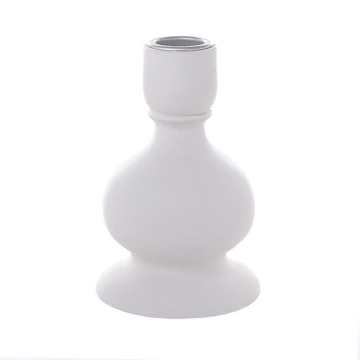 Candle Holder In White Color - inart