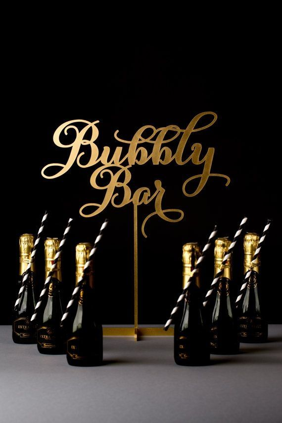 Wedding Cocktail or Champagne Table Sign - Bubbly Bar - Etsy