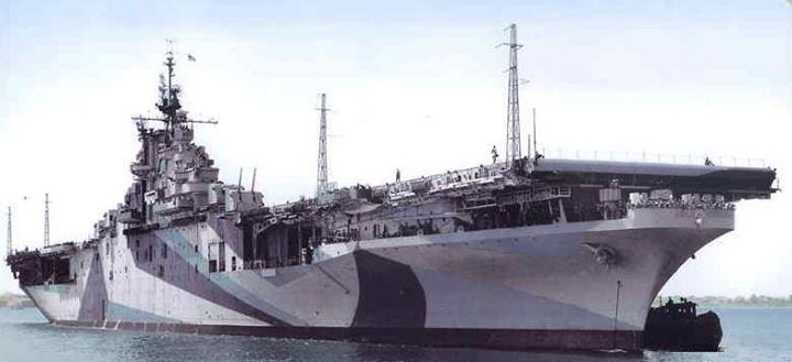 Starboard bow view of USS Ticonderoga at Norfolk Navy Yard Portsmouth Virginia United States May 1944.