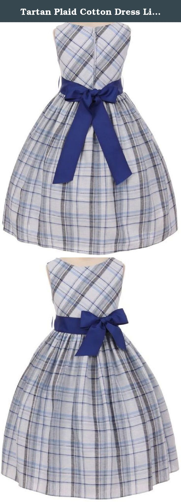 Tartan Plaid Cotton Dress Little Girl Special Occasion Dress Royal 6. Classic tartan plaid cotton dress lined with poly-cotton and finished with a thick ribbon belt to tie in back. The bow in front is pinned and detachable.