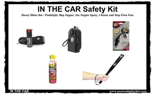 """In The Car"" Safety Kit  #panicalarm #stungun #selfdefense #stunbaton #pepperspray #selfdefence #stundevices"