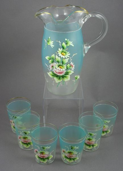 19th Century English enameled glass lemonade set, with pitcher and six tumblers, hand-blown glass with hand-applied floral decoration, pitcher is 10h., tumblers 3 7/8h.  Good condition.
