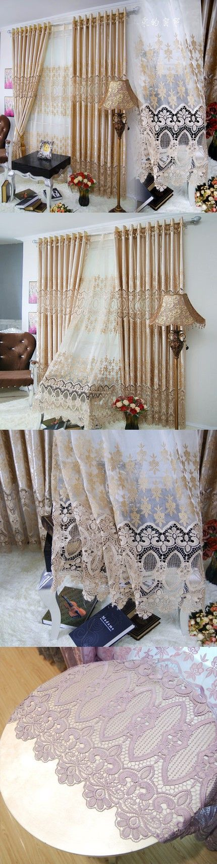 European Luxury Curtain Soluble embroidery Soft Tulle Mesh customize Window Screening For Wedding Room Free Shipping A-33 $25