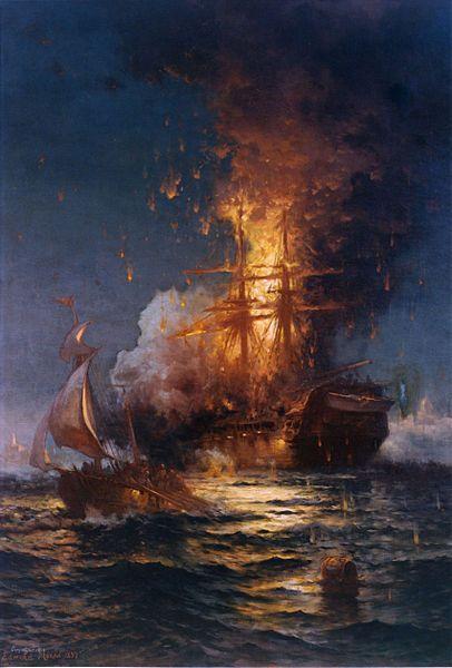 A las orillas de Trípoli ... Primera guerra de Barbary (1801-1805). El USS Philadelphia se quema en el puerto después de ser prendido en llamas por los infantes de marina.