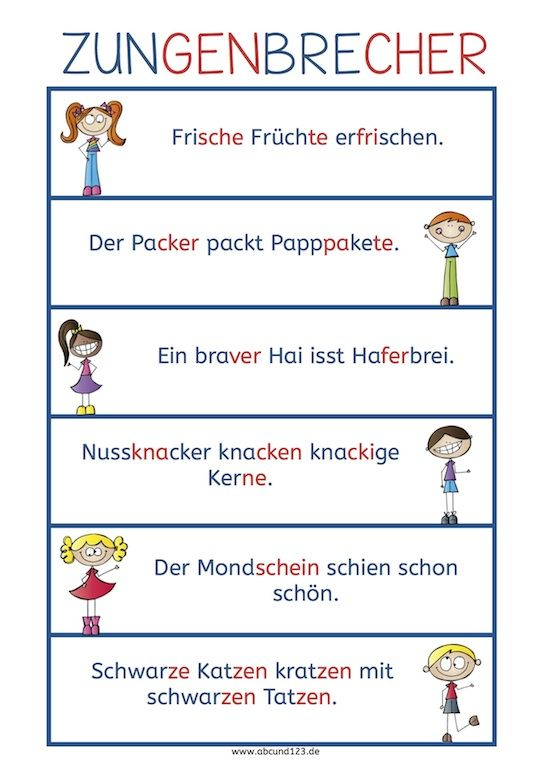 Zungenbrecher. Some tongue twisters that are a little easier for new German students.