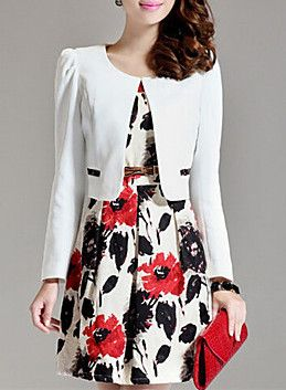 Red, Black & White Floral Print Dress