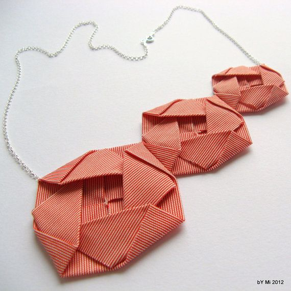 Origami Roses Fabric Origami Rosettes on Sterling Silver by bYMi